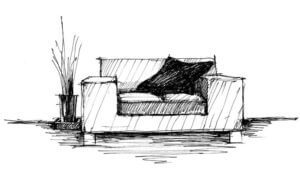 Sketch of a sofa